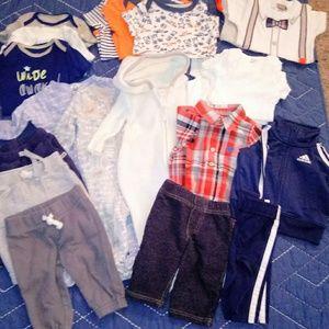 22 piece baby bundle, pants, onsies, sleepers 0-6